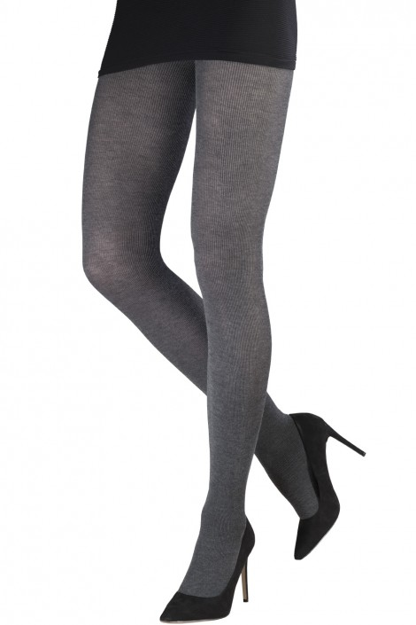 HEATHERED MICRO RIBBED VISCOSE TIGHTS