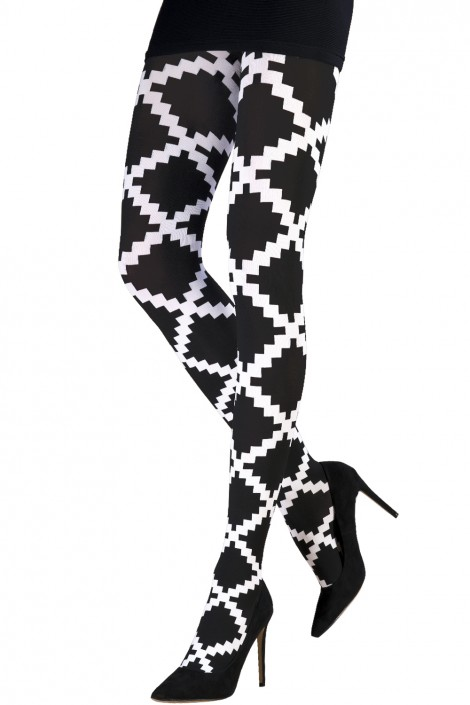 TWO TONED OPTICAL DIAMONDS TIGHTS