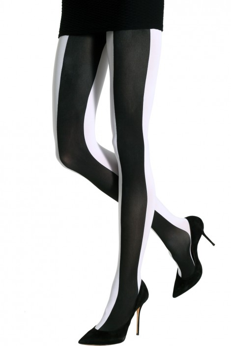 TWO TONED LARGE VERTICAL STRIPES TIGHTS