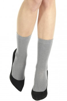 RIBBED VISCOSE/CASHMERE SOCKS