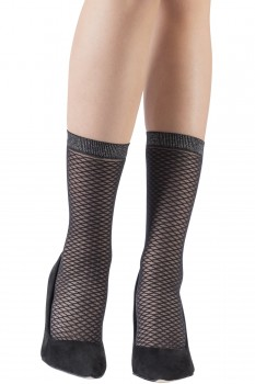 MOCK FISHNET SOCKS WITH METALLIC EDGE