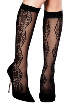 SHEER/OPAQUE LACE KNEE-HIGH