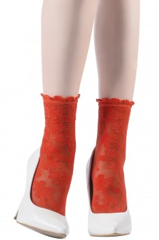 DAISIES LACE SOCKS WITH RUFFLED CUFFS